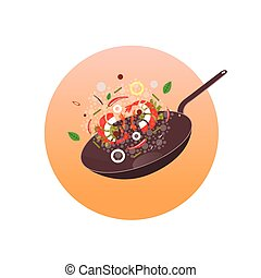 Wok illustration. Asian frying pan. Concept illustration for...