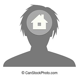 head silhouette with house icon