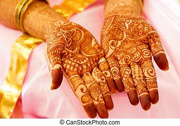 Mehendi (henna) designs on hands of woman - Mehendi (henna)...