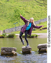 young woman falling from stepping stones dovedale peak...