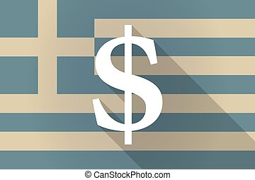 Greece long shadow flag with a dolar sign - Illustration of...
