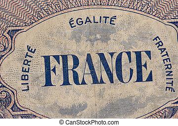 France Paper Money - France vintage old paper money .