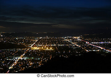 Simi Valley California Night Aerial - Night aerial of Simi...