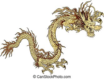 golden Chinese dragon - vector illustration golden Chinese...