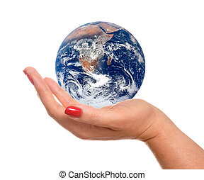 Hand And Earth - Concept of holding the entire planet in...