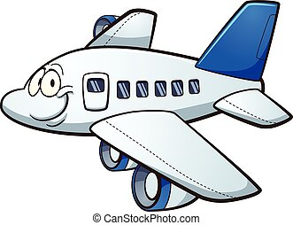 Cartoon airplane - Happy cartoon airplane. Vector clip art...