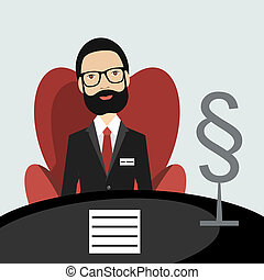 Middle age advocate, lawyer sitting in red chair in his office. Flat vector.