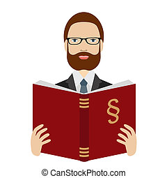 Advocate, lawyer reading a law book Flat vector Isolated on...