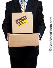Busines man holding box with copy space - Man in a business...