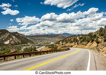 Highway leading to mountainous region of Durango, Colorado,...