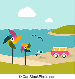 Summer beach island with dolphins, van, umbrella and color...