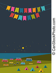 Summer night festival, party music poster, background with...