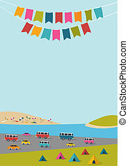Summer festival, party poster with color flags and retro...