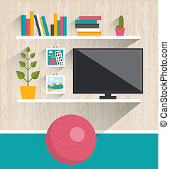 Living room interior Tv and book shelves Flat design vector...