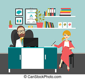 Doctor and patient in office surgery Flat vector...