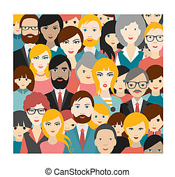 Flat people heads patter Vector