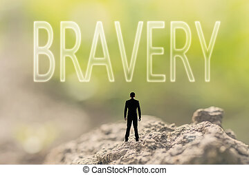 concept of courage - one person stand in the outdoor and...