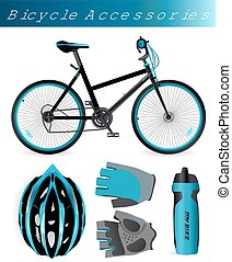 Mountain bike with bicycle accessories. Helmet, gloves,...