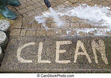 High Pressure Cleaning - Outdoor floor cleaning with high...