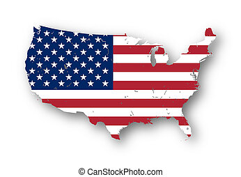 Map of the USA with american flag - High resolution map of...