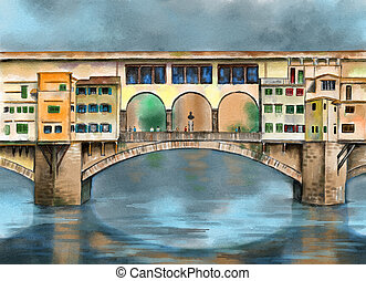 Ponte vecchio - Original watercolor painting depicting the...