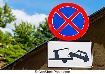 Clearway sign - traffic signs: no stopping or parking and no...