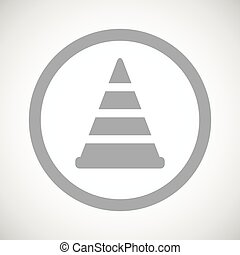 Grey traffic cone sign icon - Grey image of traffic cone in...