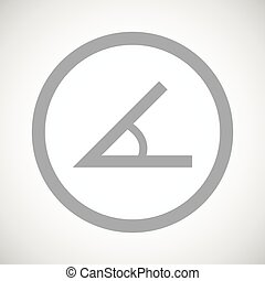 Grey angle sign icon - Grey image of angle in circle, on...