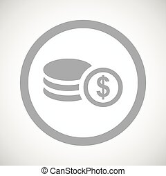 Grey dollar rouleau sign icon - Grey image of dollar rouleau...