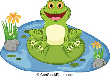Happy frog cartoon sitting on a lea - Vector Illustration of...