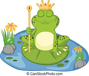 Prince frog cartoon sitting on a le