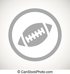 Grey rugby sign icon - Grey image of rugby ball in circle,...