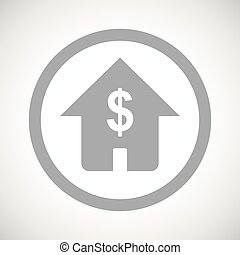 Grey dollar house sign icon