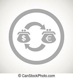 Grey dollar euro exchange sign