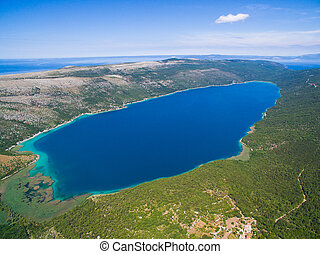 Lake Vrana on Cres Island shot from drone at 700m in...
