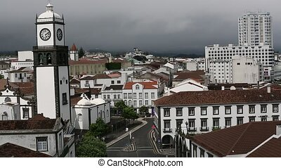 Top view of center Ponta Delgada in the Azores, Portugal