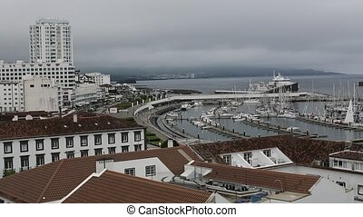 Top view of the Marina of Ponta Delgada (San Miguel Island)...