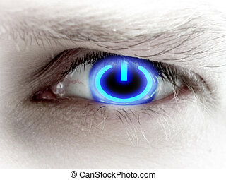 human eye with a power button in it