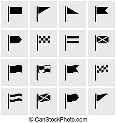 Vector black flag icon set on grey background