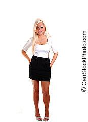 Pretty girl in short skirt. - Young, lovely girl in black...