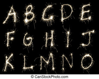 Sparking Alphabet AtoO - Capital letters A to O written in...