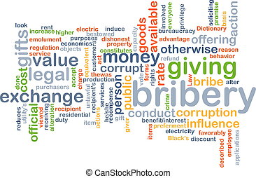 Bribery background concept - Background concept wordcloud...