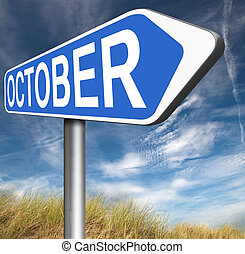 October autumn or next fall month or event schedule calendar...