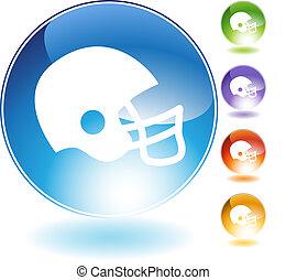 Football Helmet Crystal Icon - Football helmet crystal icon...