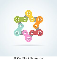 colorful bike chain star. david star , illustration