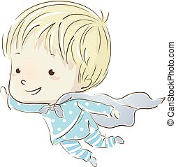 Kid Boy Fly Pajama - Illustration of a Little Boy in Pajamas...
