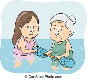Senior Woman Water Therapy - Illustration of a Female Senior...