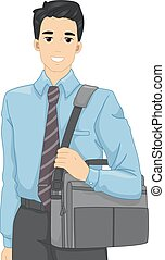 Man Laptop Bag - Illustration of a Man in an Office Attire...