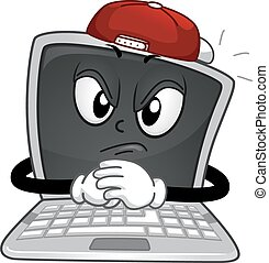 Mascot Laptop Online Bully - Mascot Illustration of a Laptop...