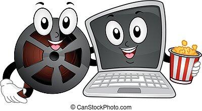 Mascot Laptop Movies Reel